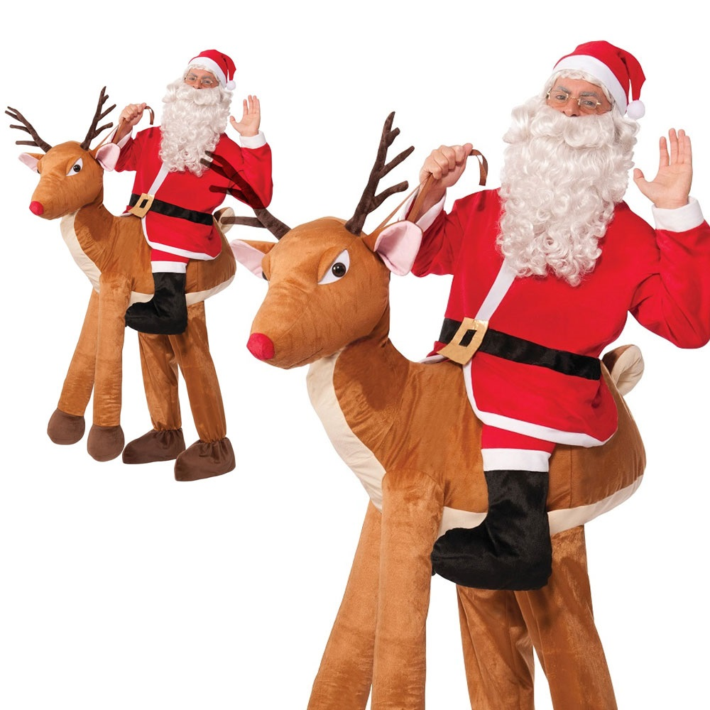Adult Step In Ride On Reindeer Rudolf Christmas Santa Fancy Dress Costume