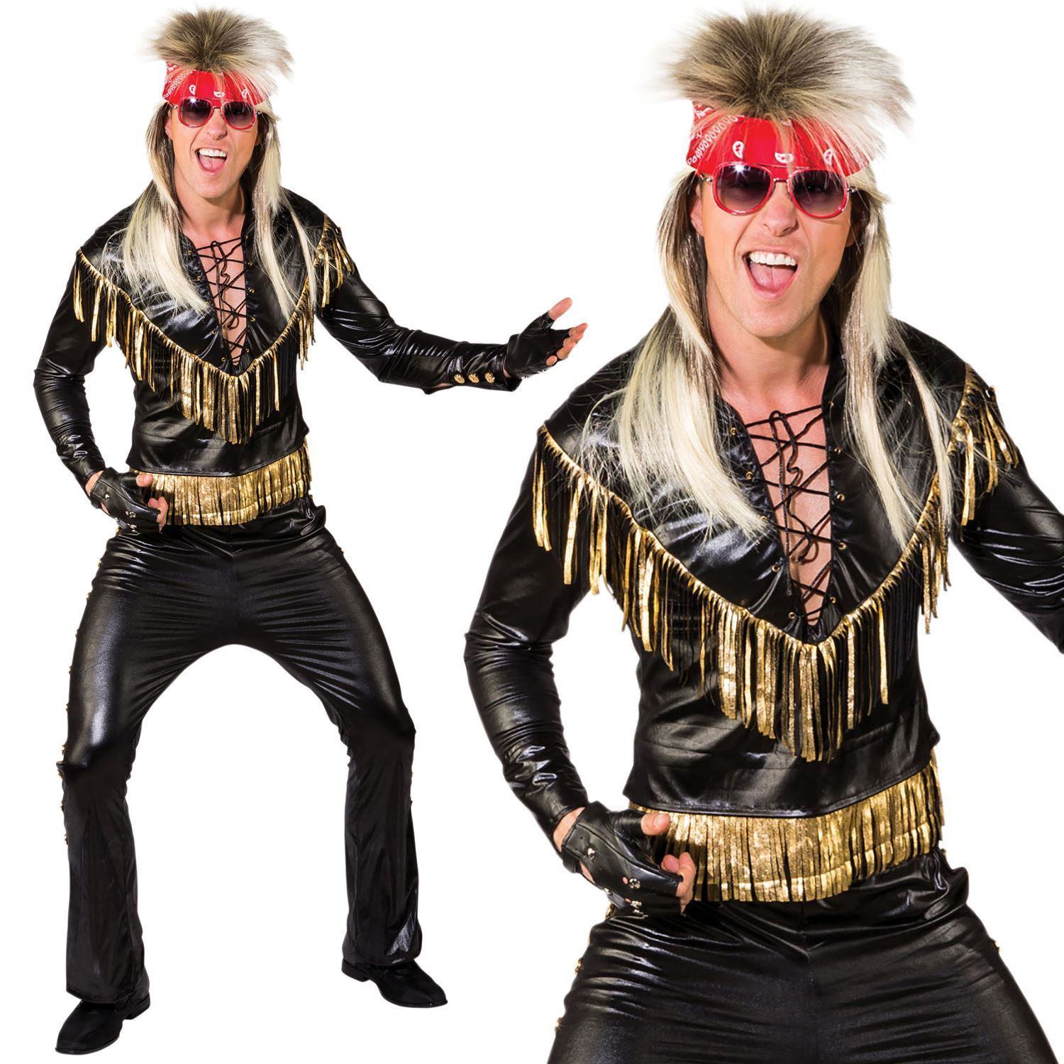 80/'s Rock God Retro Hair Band Star Fancy Dress Up Halloween Adult Costume