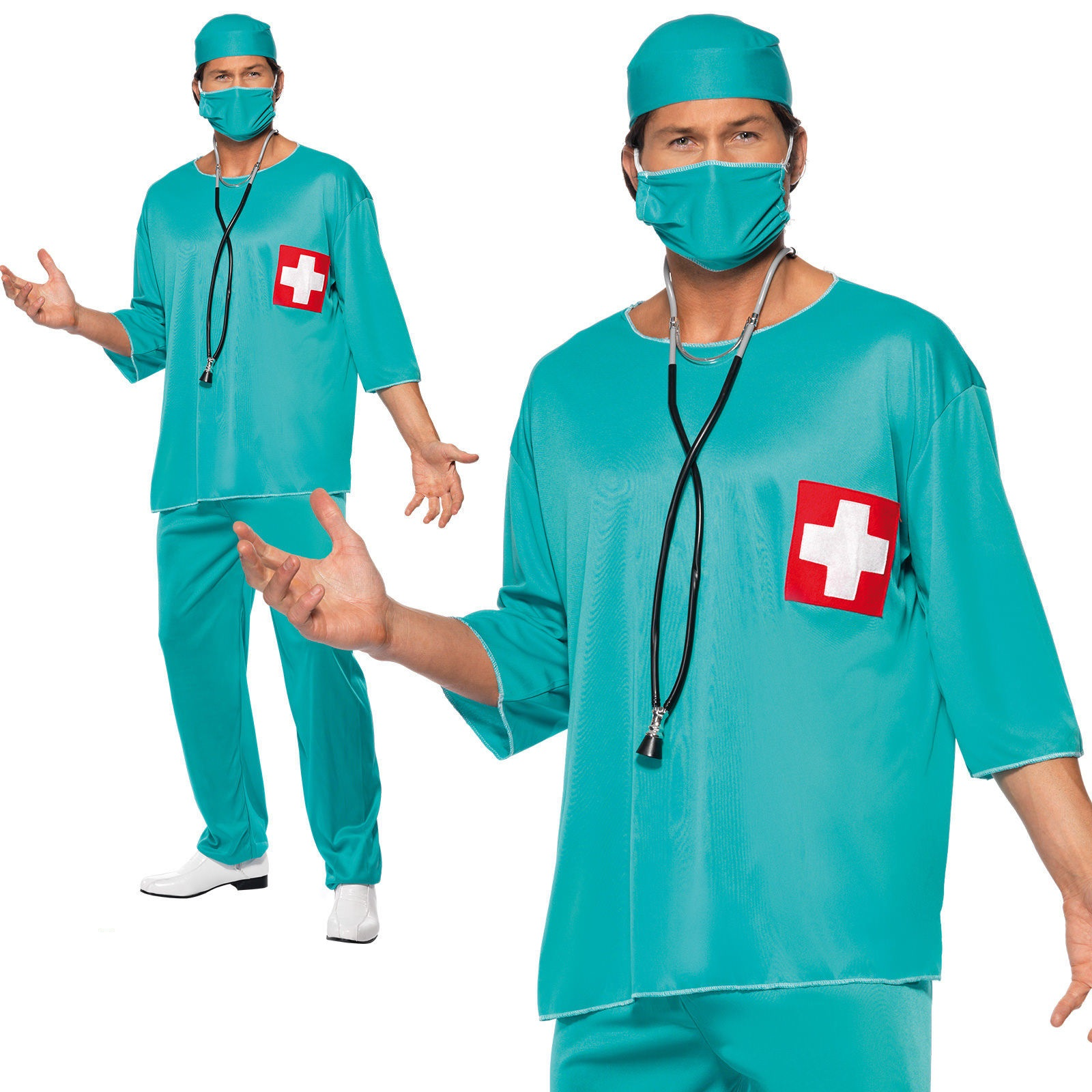 Adult Mens Hospital Fancy Dress Male Doctor Costume Complete Outfit White