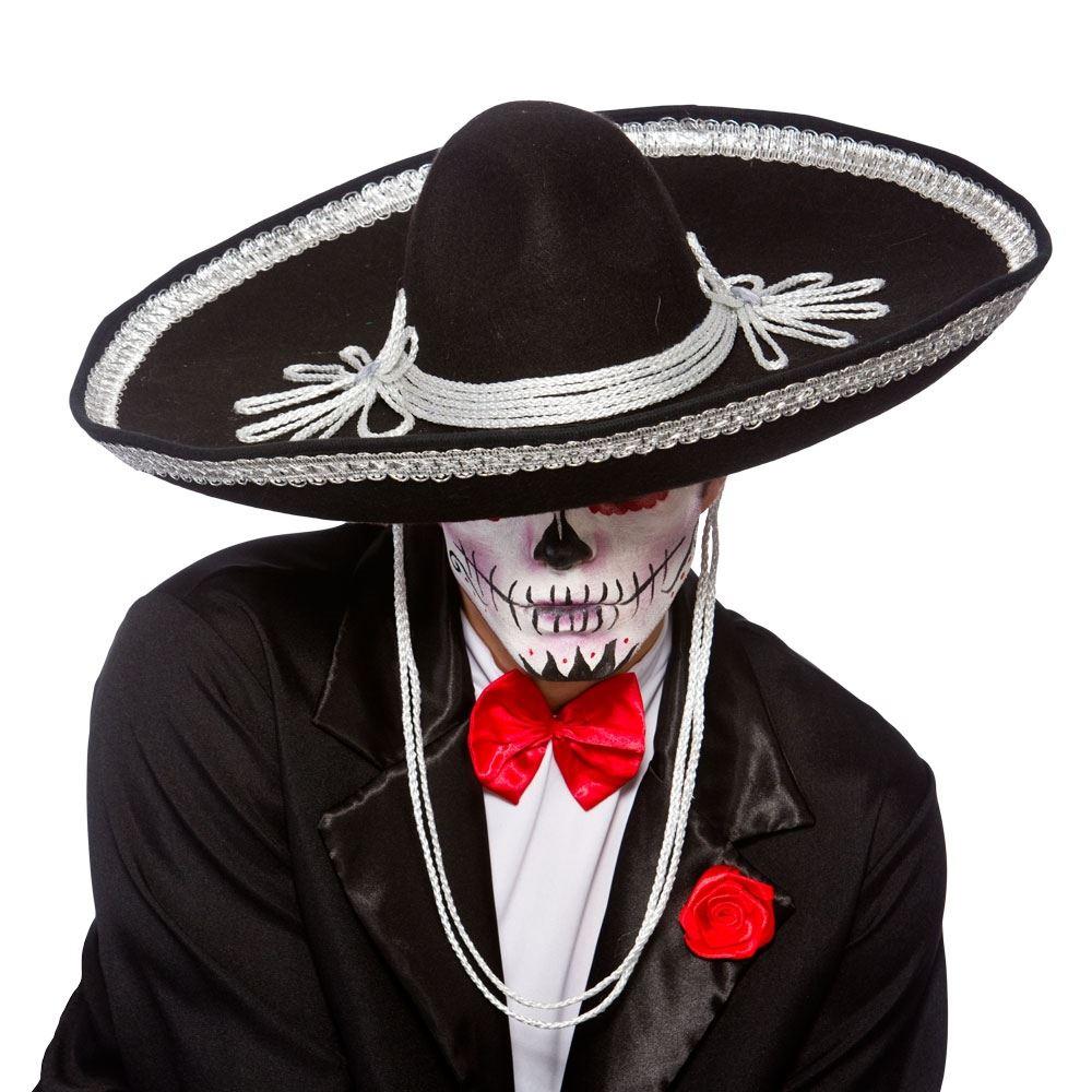 LARGE BLACK MEXICAN SOMBRERO BANDIT HAT Mens Fancy Dress Costume Accessory