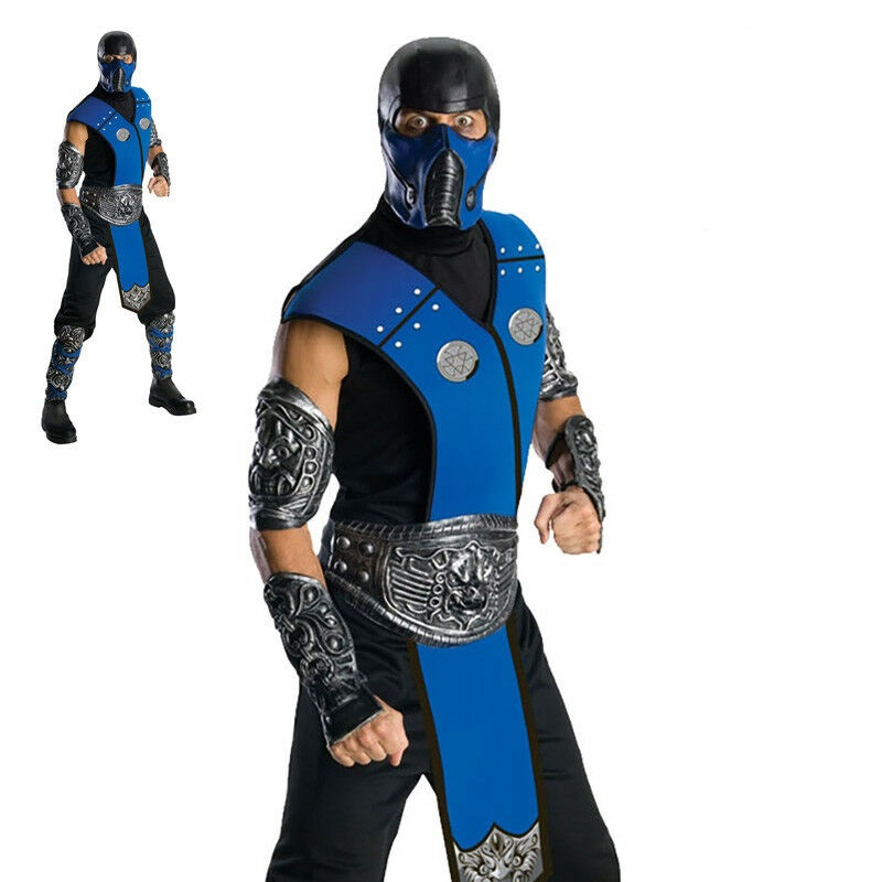 Mens Adult Mortal Combat Ninja Licensed Fancy Dress Costumes Outfit Subzero Cost Ebay