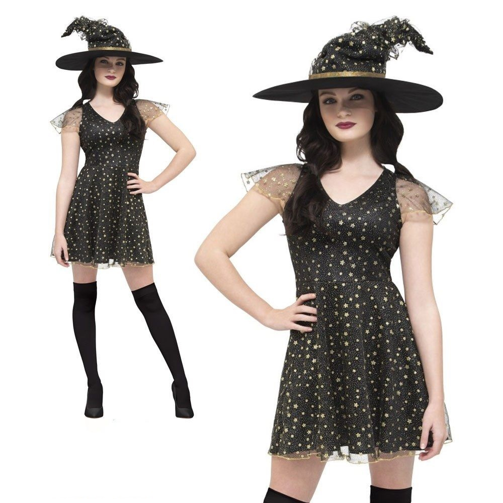Details about Ladies Witch Costume Short Dress Halloween Black Gold Fancy  Dress Adult Outfit a61250807
