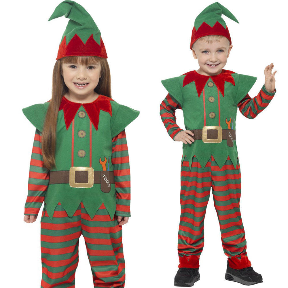 Santas Helper Elf Christmas Childrens Fancy Dress Xmas Childs Boys Girls Costume