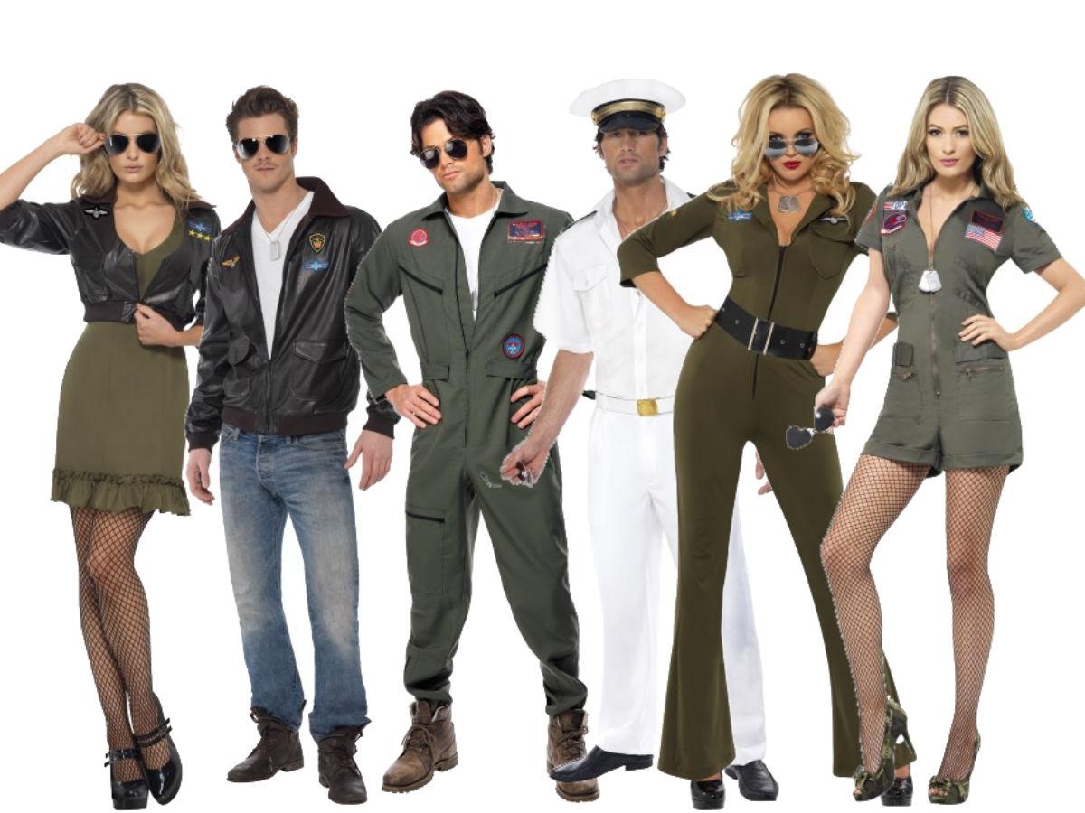 Top Gun Costume Adult Flight Suit Pilot Fancy Dress Uniform Mens