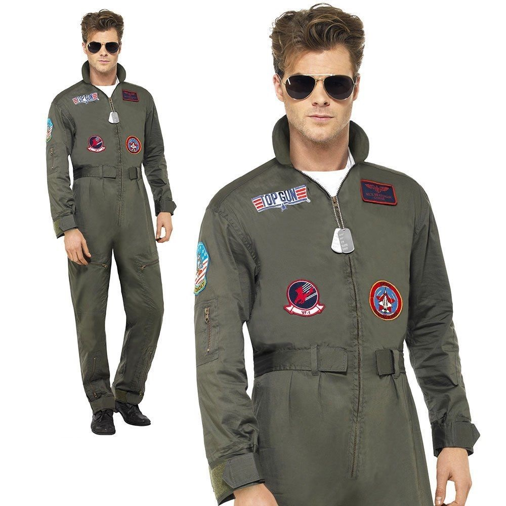 66967a3b3415 Details about Top Gun Deluxe Pilot Costume Mens Aviator Jumpsuit Fancy Dress  Outfit + Aviators