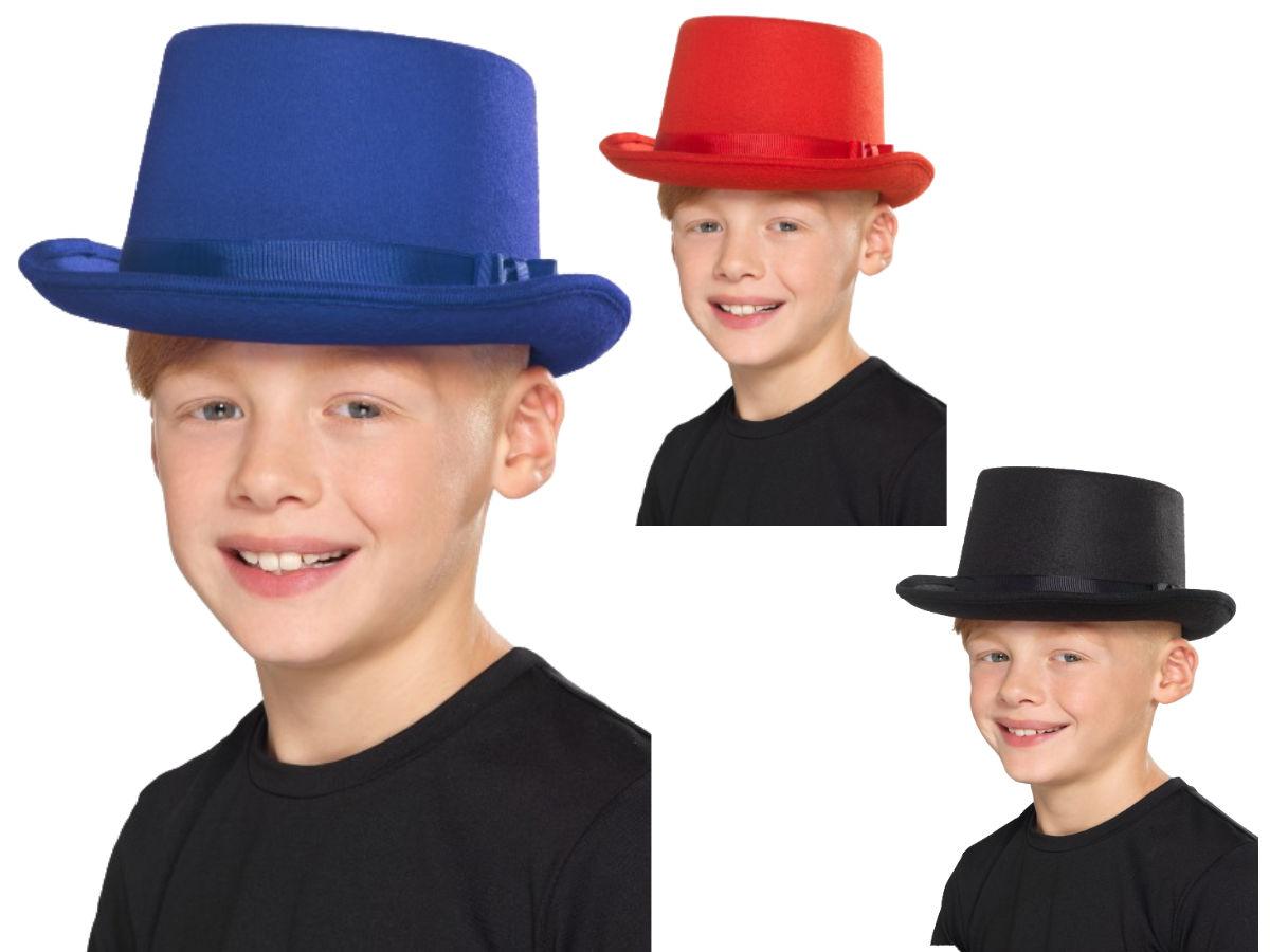 887aff6e4 Details about Top Hat Kids Red Black Or Blue Victorian Magicians Childs  Fancy Dress