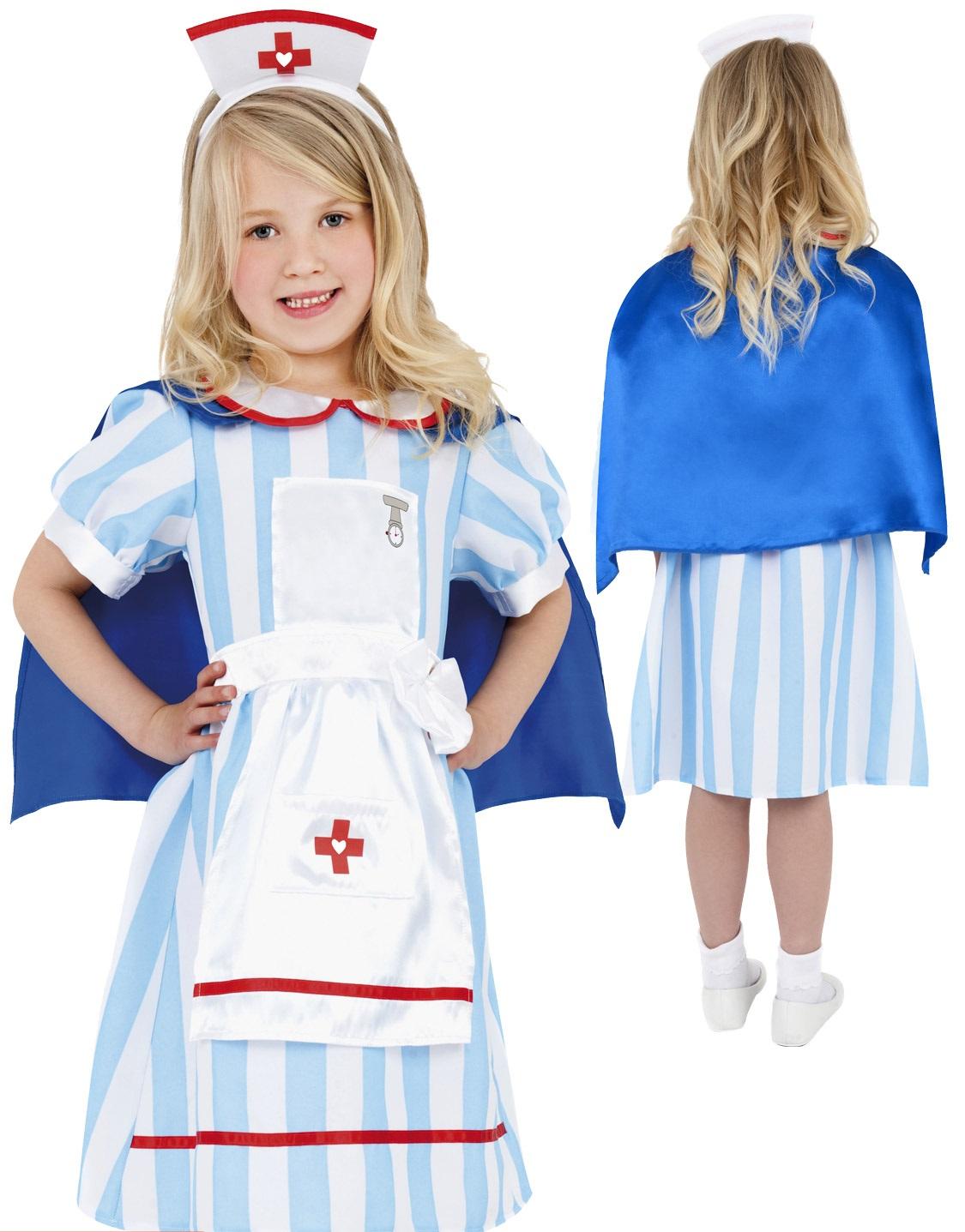 660e6bbdc49 Details about Girls Vintage Nurse Costume Childs Hospital Fancy Dress Kids  Book Week New