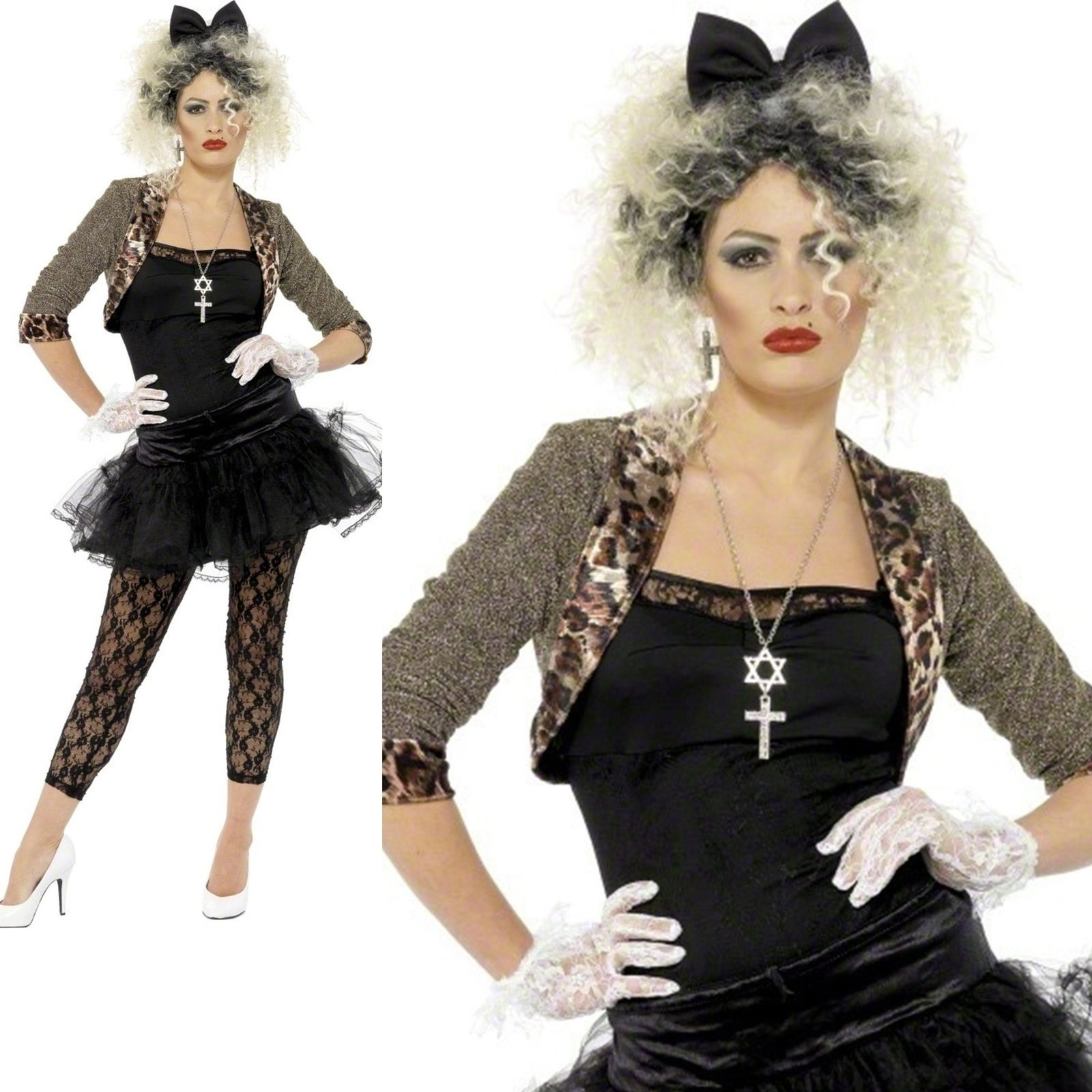 Madonna Costume 80s Wild Child Pop Star Womens Ladies Adult Fancy Dress Outfit