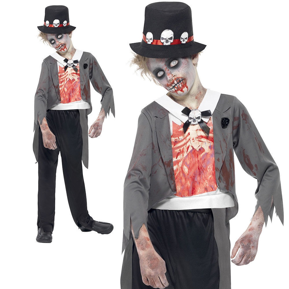 Details about Child Zombie Corpse Groom Costume Boys Kids Halloween Fancy  Dress Monster