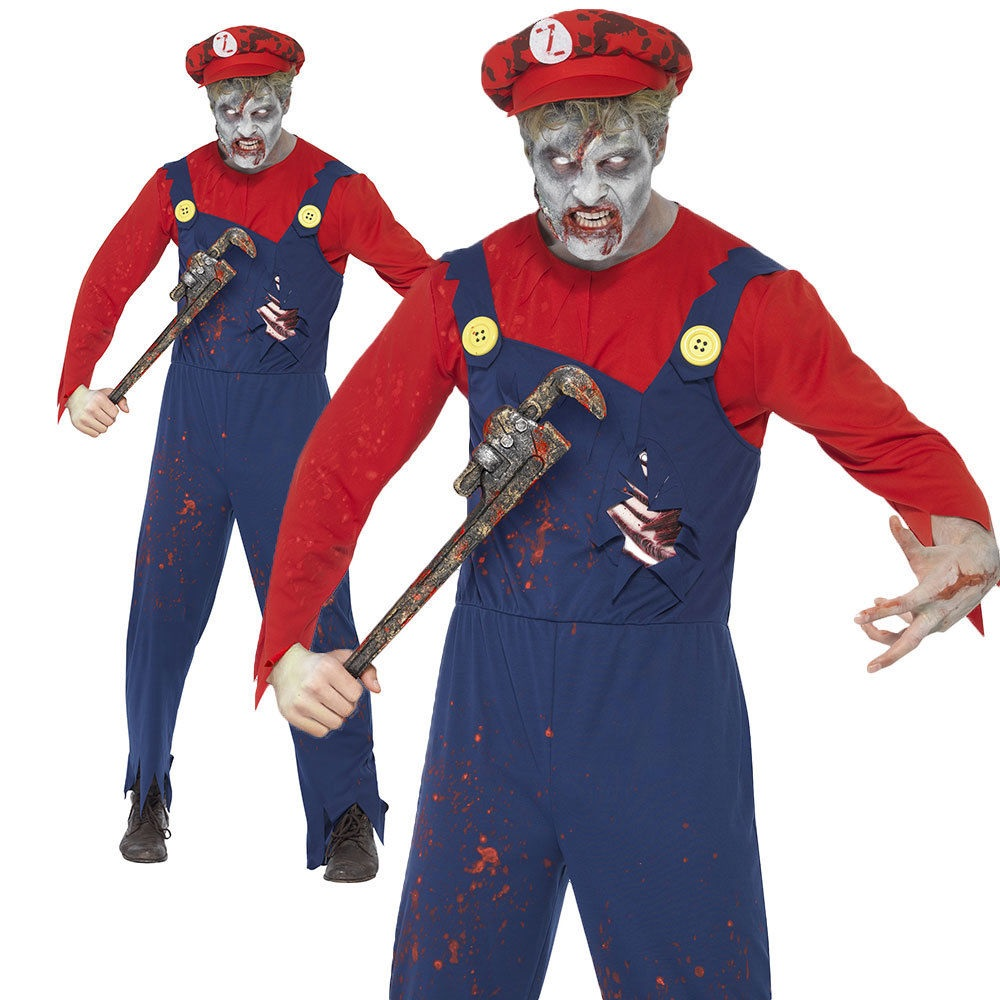 78869af1ca9 Details about Zombie Plumber Costume Adult Mario Halloween Mens Fancy Dress  Male M,L